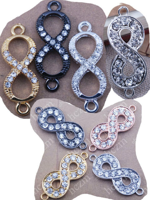 2pcs crystal rhinestone infinity infinite bracelet connector charm side ways