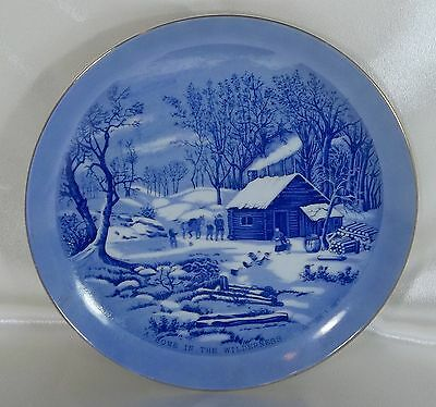 Vintage Collectors Plate A Home in the Wilderness Currier & Ives Blue   #3