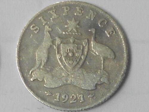 KING GEORGE V ZACK 1921  Australian Silver SIXPENCE very Nice