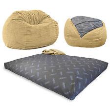 CordaRoy's - Tan Chenille Convertible Bean Bag Chair /Fullsize Bed,  Zippered