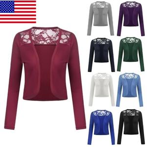 Womens-Bolero-Long-Sleeve-Shrug-Lace-Cropped-Open-Front-Cardigan-S-5XL-Fashion