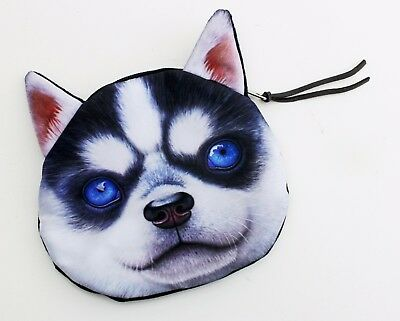 Womens Wallets Husky Dog Blue Eyes Leather Passport Wallet Coin Purse Girls Handbags