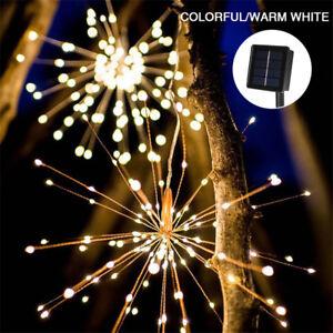 Bateria-Solar-de-200LED-8-modo-Colgante-Starburst-fuegos-artificiales-Hada-Cadena-de-Luz-parte