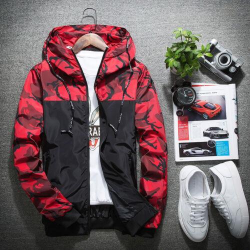 Fashion Hommes Casual Camo Mince Zipper Veste à Capuche Vent Disjoncteur Loose Coat Tops