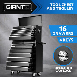 Giantz 16 Drawers Tool Box Chest Cabinet Trolley Toolbox Garage Storage Boxes