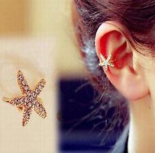 ONE WOMEN Starfish Gold Tone Full Rhinestone CRYSTAL Earring Ear Clip Cuff Wrap