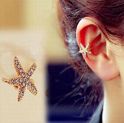 ONE WOMEN Starfish Gold Tone Full Rhinestone CRYSTAL Earring Ear Clip Cuff Wrap