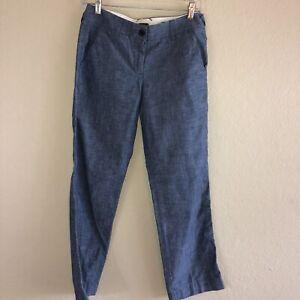 Womens-J-Crew-Belmarin-City-Fit-Chambray-Blue-Flat-Front-Cotton-Chino-Pants-0