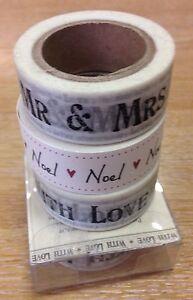 East-of-India-Pegajoso-Cinta-de-papel-con-amor-Sr-amp-sra-papel-prensa-Noel-corazon-10m-Rollo