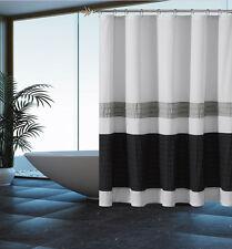 Silver Grey Black Striped Fabric Shower Curtain: Pintuck Design