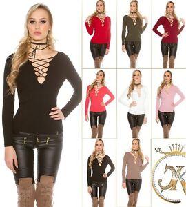 KouCla-Pullover-Pulli-Strickpullover-Sweater-mit-Schnuerung
