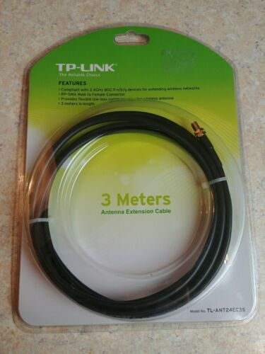 TL-ANT24EC3S 10FT RP-SMA Male to Female Low-Loss WiFi Antenna Extension Cable