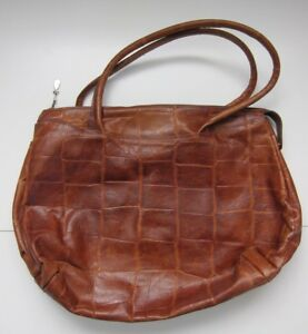 Details about Vintage Nordstrom Made In Italy Tan Brown Leather Large Shopper Tote Bag Purse