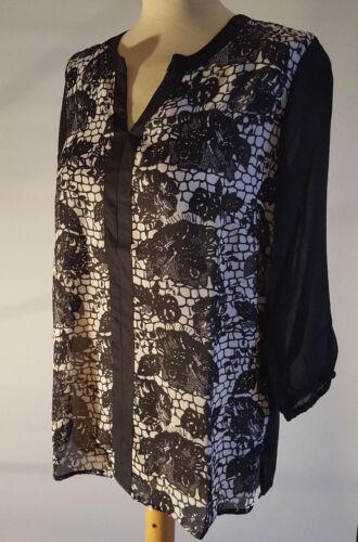 Tunika Bluse in 3 Farben  lila rot oder weiß mit schwarz XS S M L XL 3//4 Arm neu