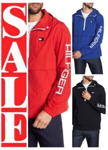 TOMMY-HILFIGER-Mens-1-2-ZIP-GRAPHIC-LOGO-Spell-out-HOODED-pullover-JACKET
