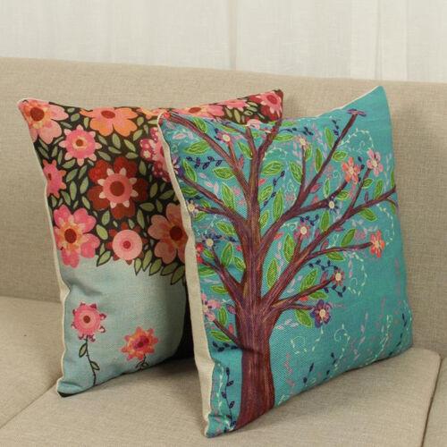 Outdoor Indoor Spring Floral Leaf Cotton Cushion Garden Pillow Case Covers Decor