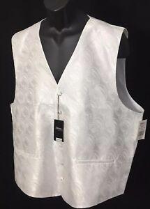 Steven-By-Steven-Land-White-Paisley-Dress-Vest-Men-039-s-Size-XXL-NWT