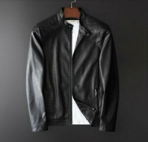 Men/'s Faux Leather Jacket Motorcycle Stand collar Slim Fit Outdoor Biker New L