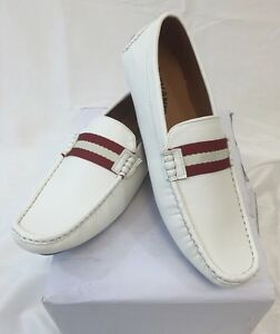 Men's Giovanni Loafer Dress Shoes Italian Style Slip On Solid White with White Stitch Red Strap trim M01-6