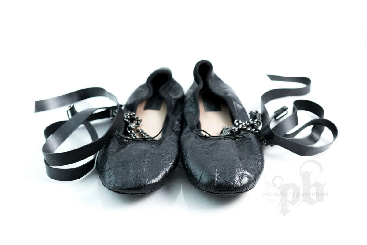 Valentino Genuine Leather Ballerinas with Chain n Leather Ankle Straps Size 9 US