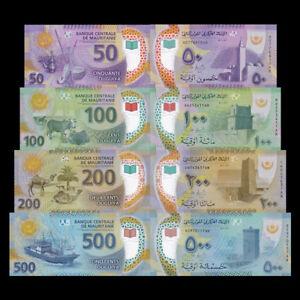 Mauritania-Banknotes-set-50-100-200-500-Ouguiya-2017-2018-P-New-Polymer-UNC