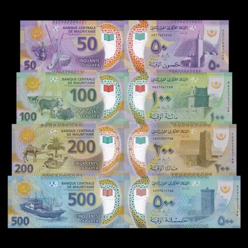 P-New Polymer Mauritania Banknotes set 50 100 200 500 Ouguiya,2017//2018 UNC
