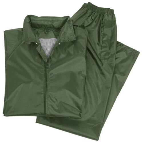 Waterproof Mens Jacket Trousers Rain Suit Rainproof Fishing Work Set Olive S-3XL