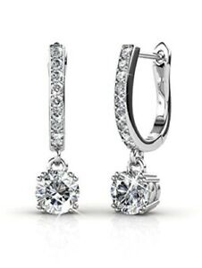 18k-White-Gold-Plated-Dangling-Earrings-With-Genuine-Swarovski-Crystals-GIFT