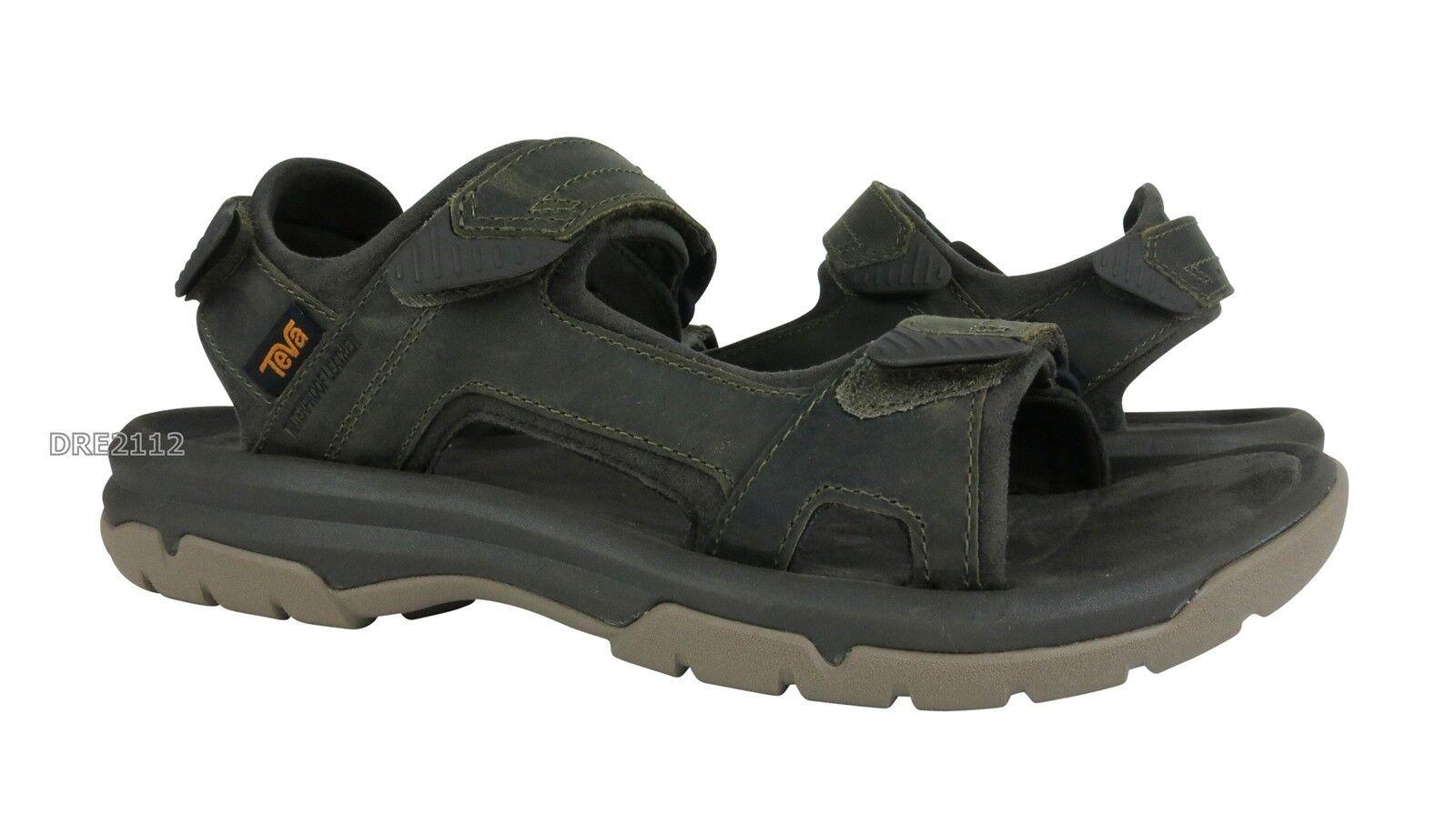 Sandali e scarpe per il mare da uomo Teva Langdon Sandal Olive Leather Sandals uomos Size 9 *NIB*