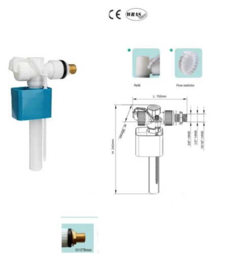 Housler®Wrass Approved WC Cistern flush systems fill valve.Universal fit
