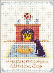 Dog-at-home-Sampler-complete-cross-stitch-kit-on-14-aida-with-COLOUR-chart