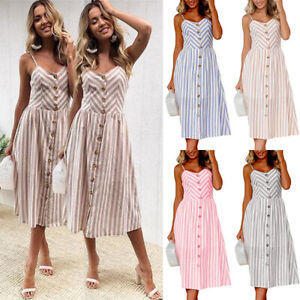 UK-Womens-Swing-Dress-Holiday-Strappy-Buttons-Ladies-Summer-Stripe-Midi-Sundress