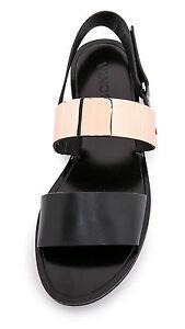 Vince Ciara Leather Metal-Plate Sandal, Black/Rose Gold SIZE US 8.5 M (EU 39.5)