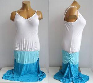 NEU-Ubergroesse-Damen-Sommer-Shirt-Kleid-Strand-Kleid-seitliche-Raffung-Gr-44-46