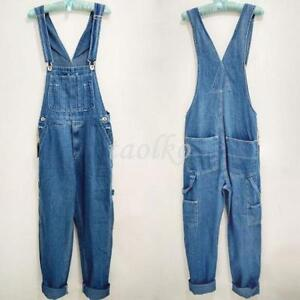 Men-039-s-Loose-Pants-Overalls-Washed-Denim-Suspender-Trousers-Work-Summer-Jeans-Sz