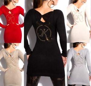 Maglione-Lungo-Donna-Maxi-Pull-con-borchie-Abito-Maglia-Pullover-logo-e-strass