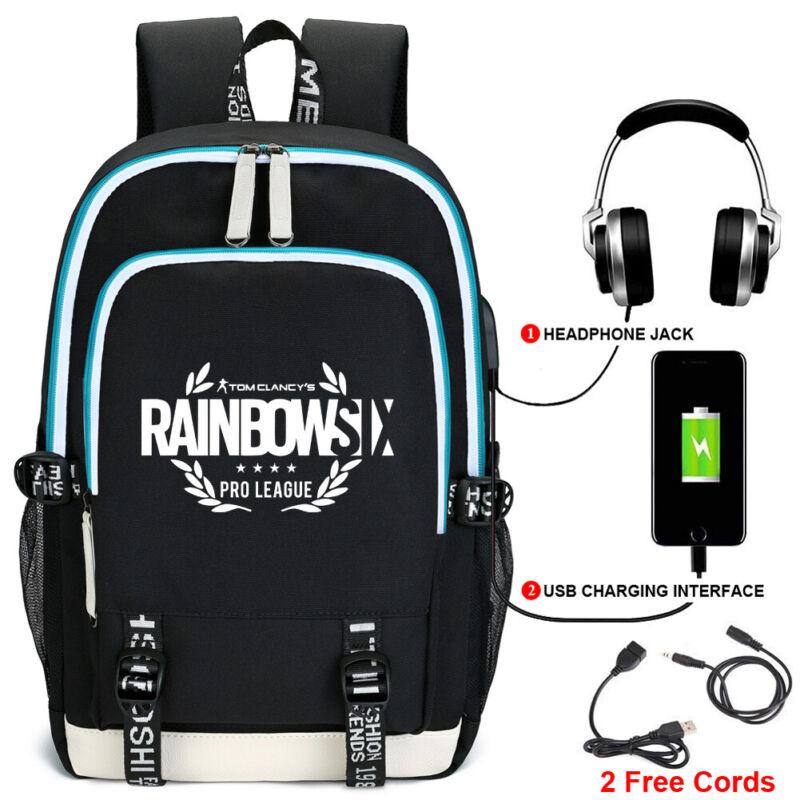 Hard-Working Rainbow Six Backpack Students Schoolbag Usb Youth Travel Bag Laptop Bag Knapsack