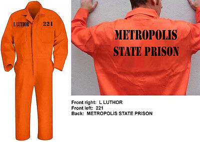 LEX LUTHOR Metropolis State Prison JUMPSUIT Cosplay Halloween Costume Batman