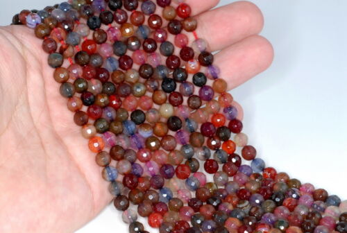 """6MM FIREWORKS CRACKLE AGATE GEMSTONE GALA MULTI FACETED ROUND LOOSE BEADS 14.5/"""""""