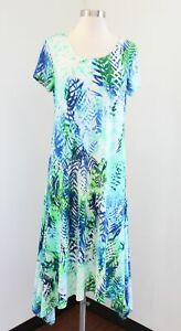 NWT $129 Chico's Palm Print Asymmetrical Midi Dress Chicos Size 0 Blue Green
