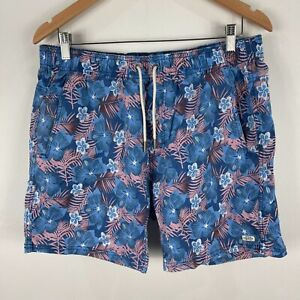 Industrie-Mens-Beach-Shorts-Large-Multicolored-Floral-Elastic-Waist-Drawstring