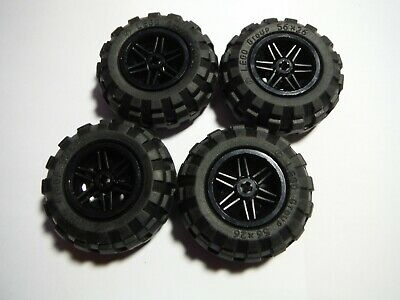 Lego 56x26 Technic Balloon Tires LOT OF 4 with Black Wheels NXT Mindstorms