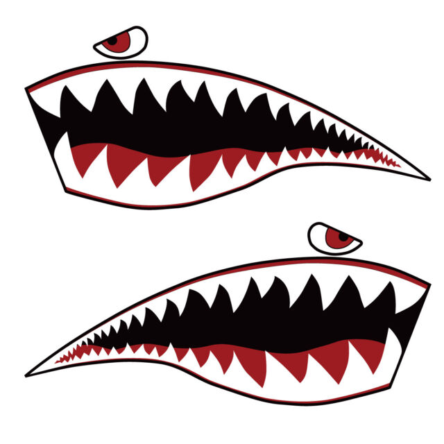 Warhawk Sticker Decal Vinyl Flying Tiger Shark Teeth Fighter Jet Bite War Hawk