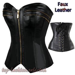 uk black fetish zipper soft corset top fancy rouge basque bondage boned lace up ebay. Black Bedroom Furniture Sets. Home Design Ideas