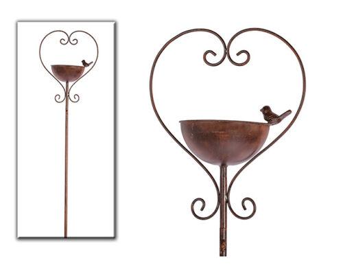 Edelrost Optique cœur gartenstab Vasque à oiseaux décoration jardin terrasse Parterre