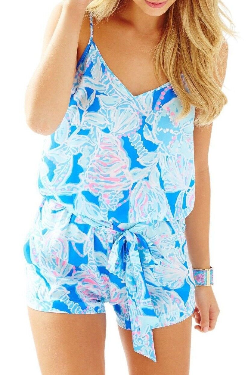 New Lilly Pulitzer  DEANNA TANK TOP ROMPER Bay bluee into the Deep Large XS XL L