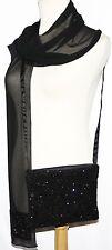 Black Beaded Evening Cocktail Embellished bag Purse & Matching Scarf Muffler Set