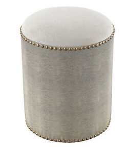 Super Details About Horchow Gray Shagreen Brass Nail Hardware Stool Ottoman Vanity Round Mid Modern Beatyapartments Chair Design Images Beatyapartmentscom