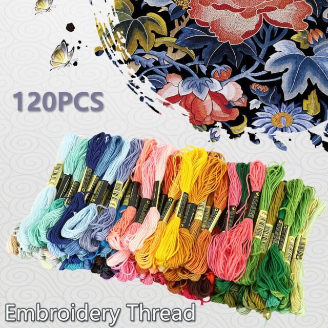Coloured Cross Stitch Embroidery Thread Starter Kit Craft DIY Tools Fabric-Set