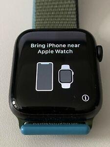 Apple serie 6 Gris Espacial 44mm Reloj + + Banda deportiva Negro Verde Sport Bucle